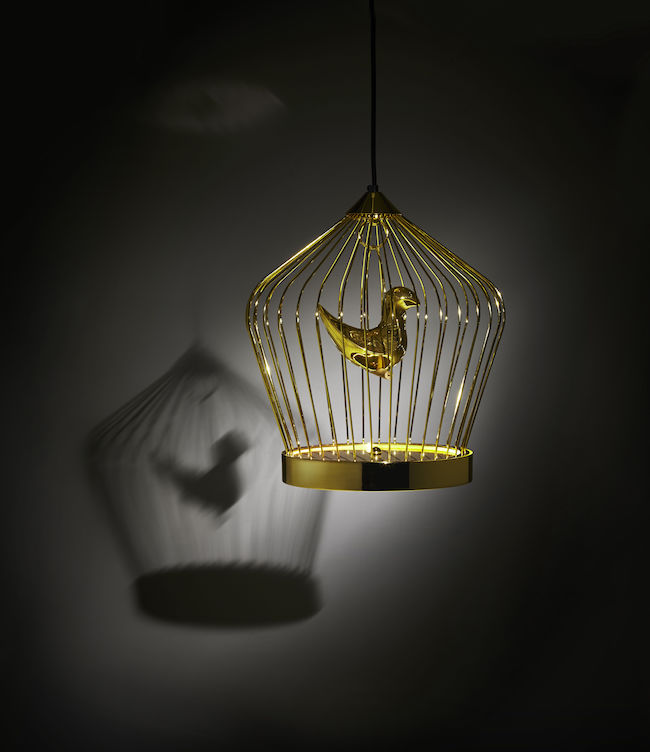 lampe voliere Cage oiseaux or dore TWEET Casamania