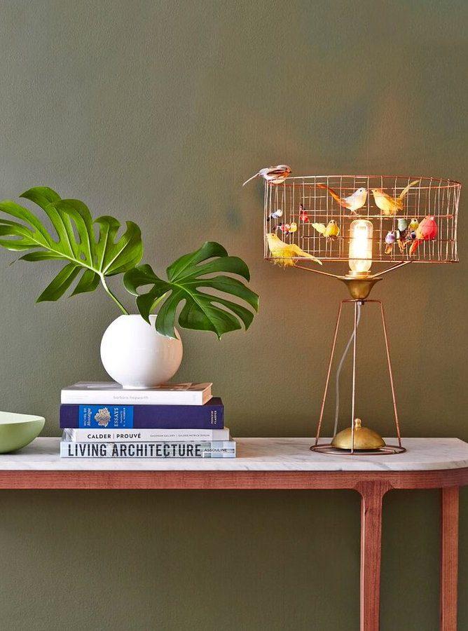 lampe volière made in france monstera mur vert kaki console scandinave 50s