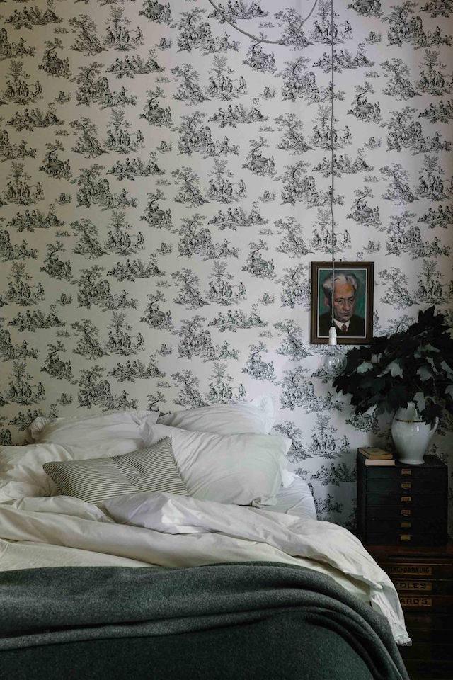 mini maison champêtre chambre papier peint toile de jouy