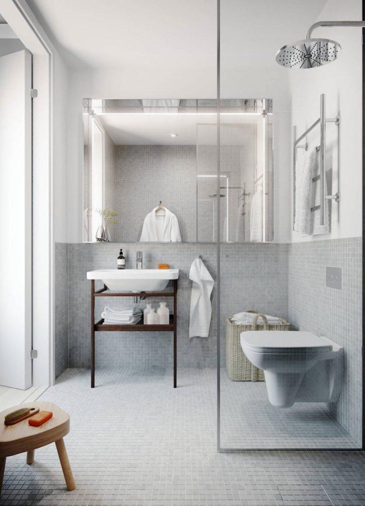 petite salle de bain moderne mosaique grise douche italienne blog déco