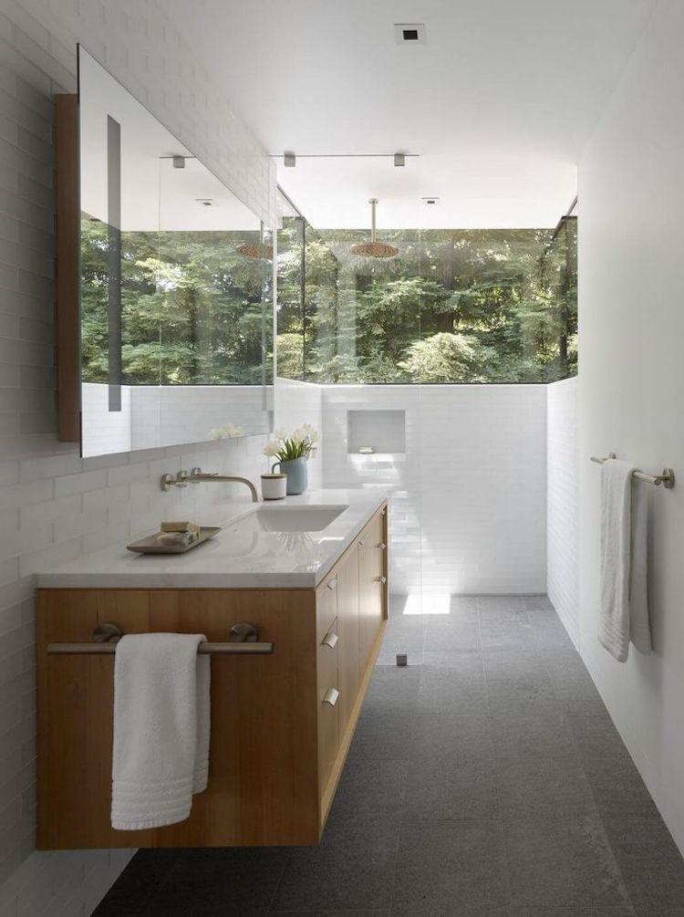 petite salle de bain ouverte nature exterieur douche a l italienne carrelage metro deco zen style bali