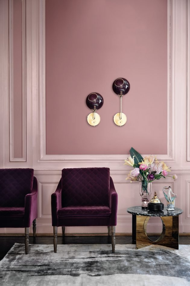 salon design by us rose velours fauteuil framboise peinture Rasmus Larsson