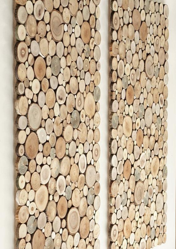 couvrir mur de bois idee diy panneau rondin deco chalet