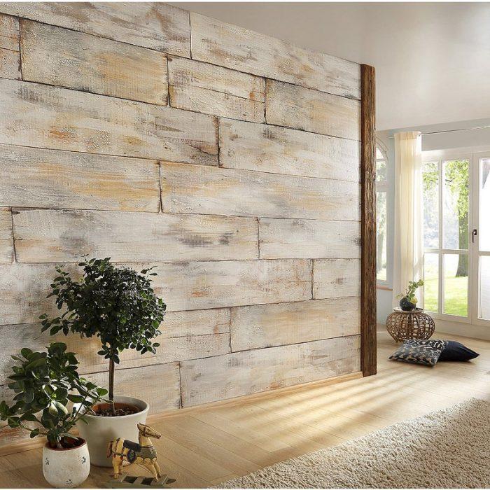 papier peint trompe oeil mur de bois vintage vieille planche rustique