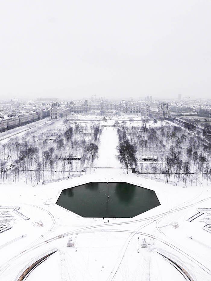 paris sous la neige photo video vue grande roue parc