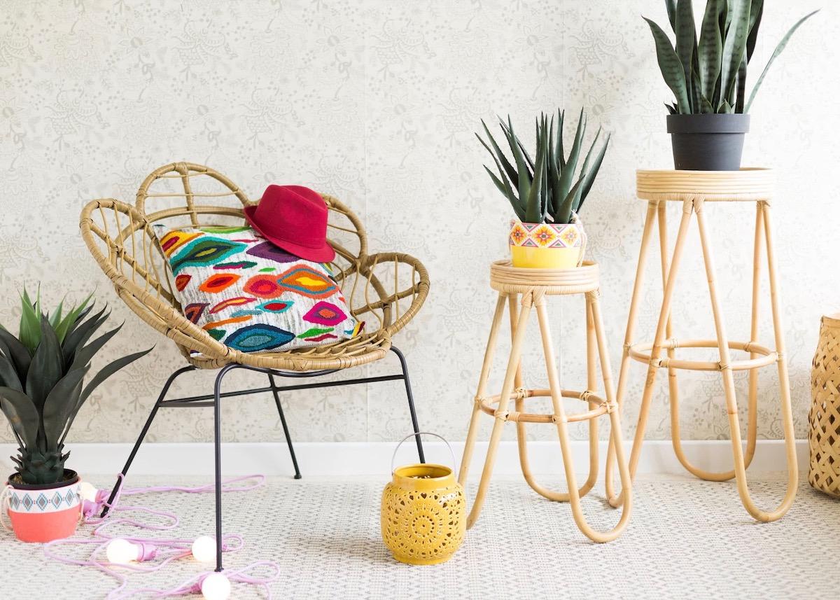 fauteuil en forme de fleur osier rotin jardin osier