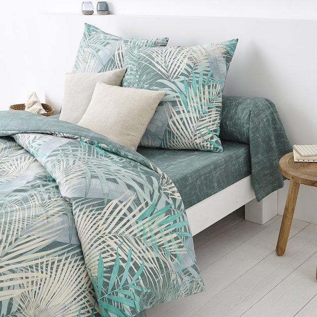 chambre tropicale parure de lit housse de couette feuille palmier camaieu vert