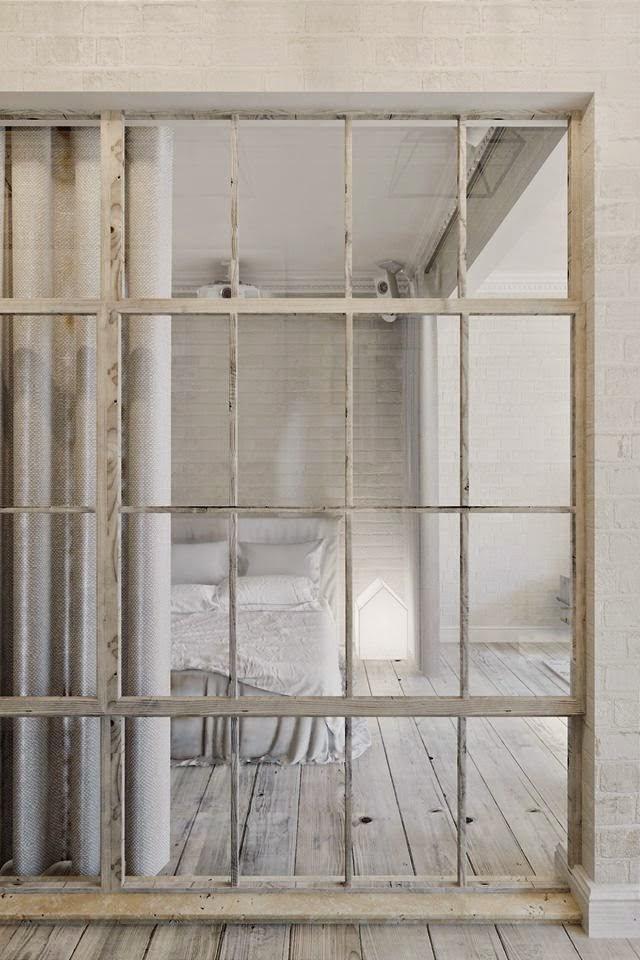 chambre couleur lin bois vieilli verriere parquet gris