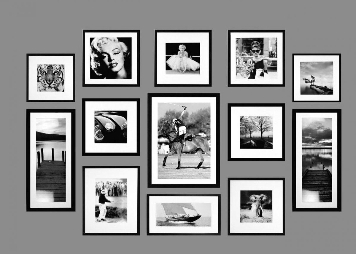 galerie photos couloir noir et blanc deco mur de cadres