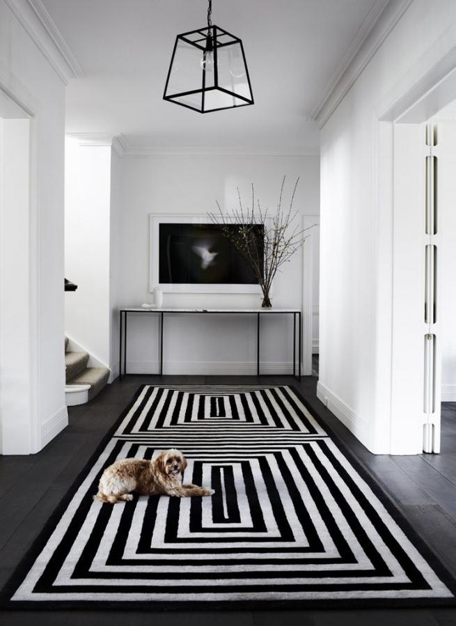rayures couloir noir et blanc horizontale sol tapis graphique