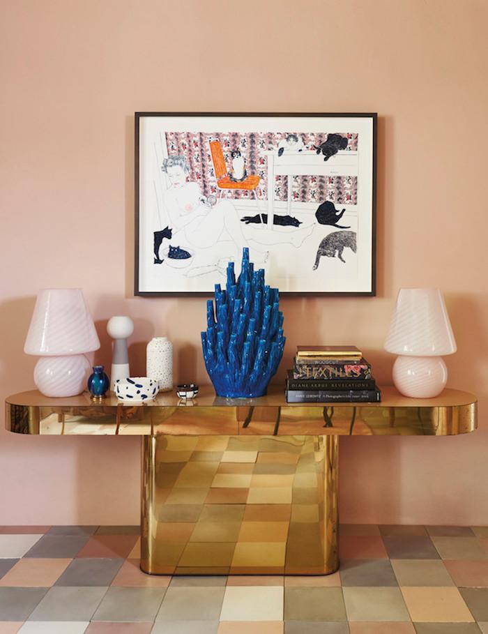ancienne ferme rénovée meuble art deco laiton console buffet