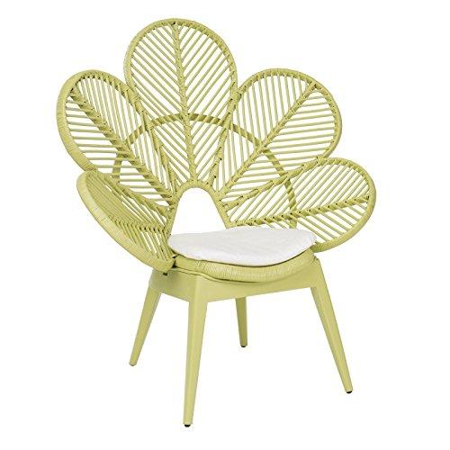 chaise en forme de fleur rotin osier vert amande pomme MAGRIT