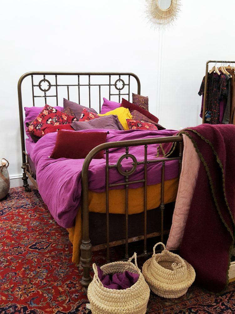 Monoprix deco couleur prune draps lin jaune moutarde chambre