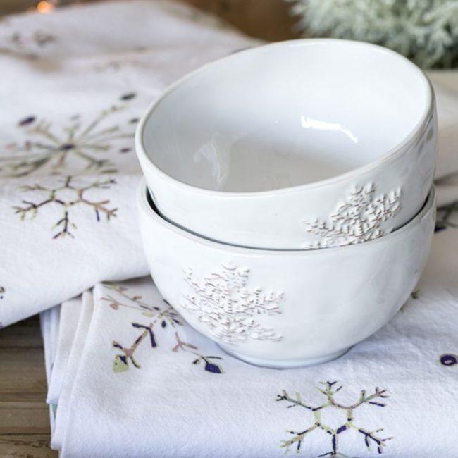 bol deco flocon de neige motif porcelaine