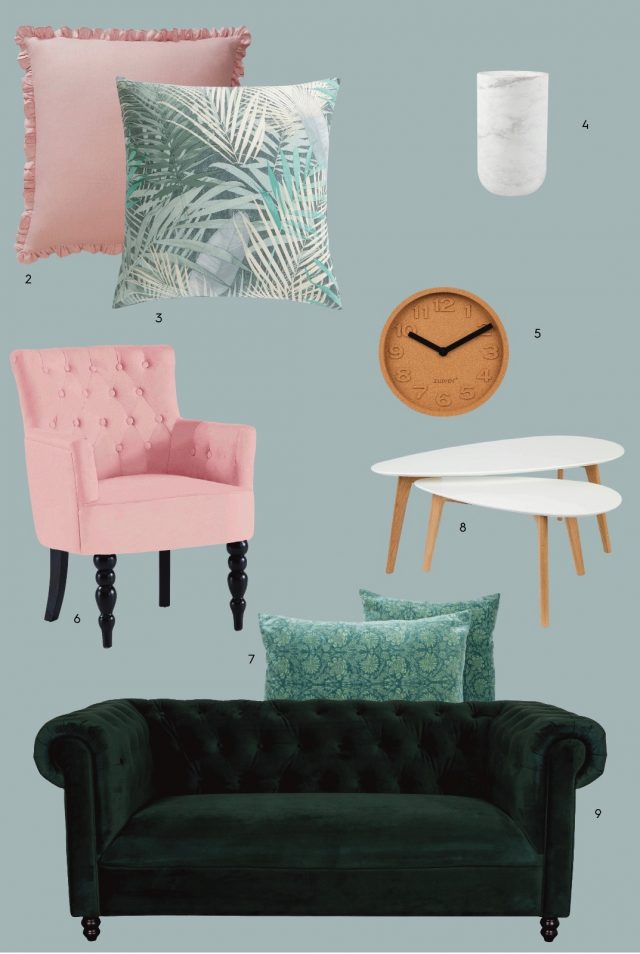 catalogue 3 suisses ete deco tropicale salon velours rose vert