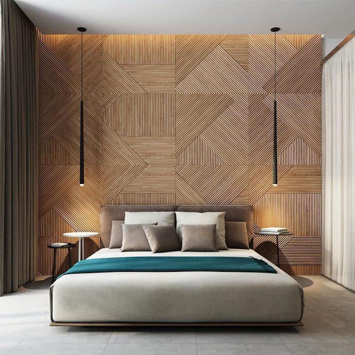 couvrir mur de bois idee panneau decor geometrique tete de lit chambre