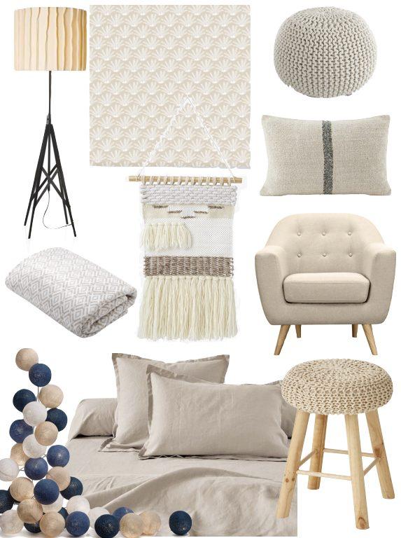 deco couleur lin fauteuil lampe tabouret pouf tricot beige