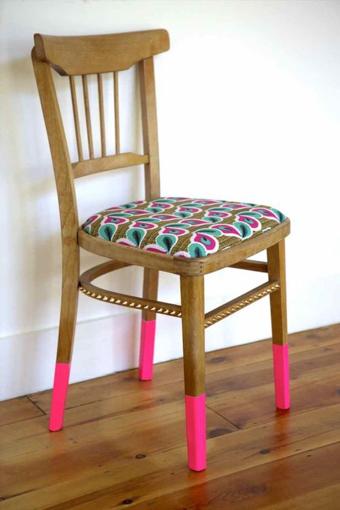 deco ethnique decoration flashy rose fluo motifs chaise customisation diy