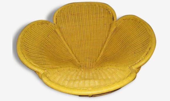 fauteuil tresse chaise en forme de fleur annees 50