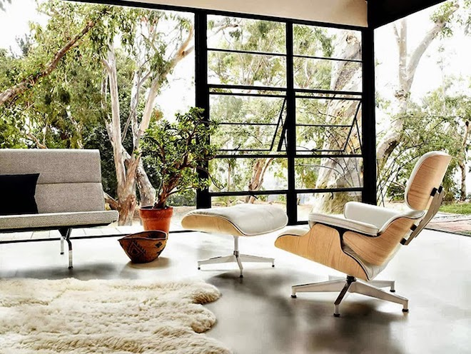 maison Eames Lounge Chair Ottoman blanc beige salon