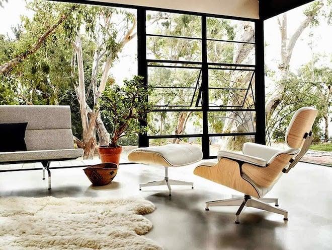 maison Eames Lounge Chair Ottoman blanc beige salon