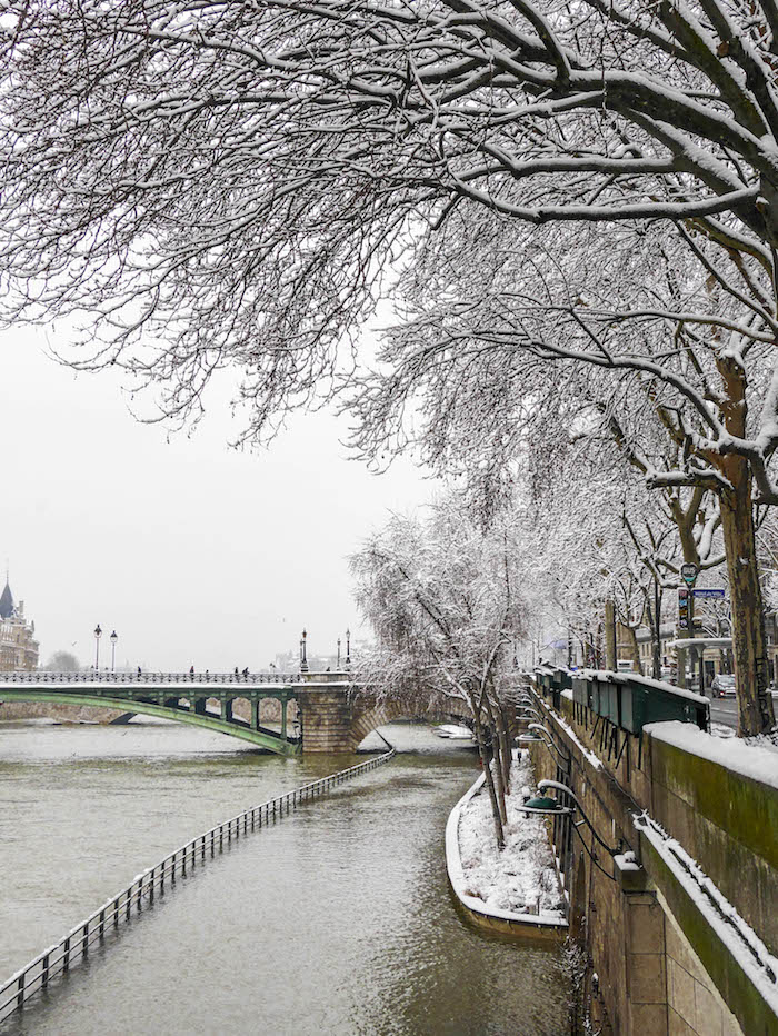 paris sous la neige photo video seine arbres peniche