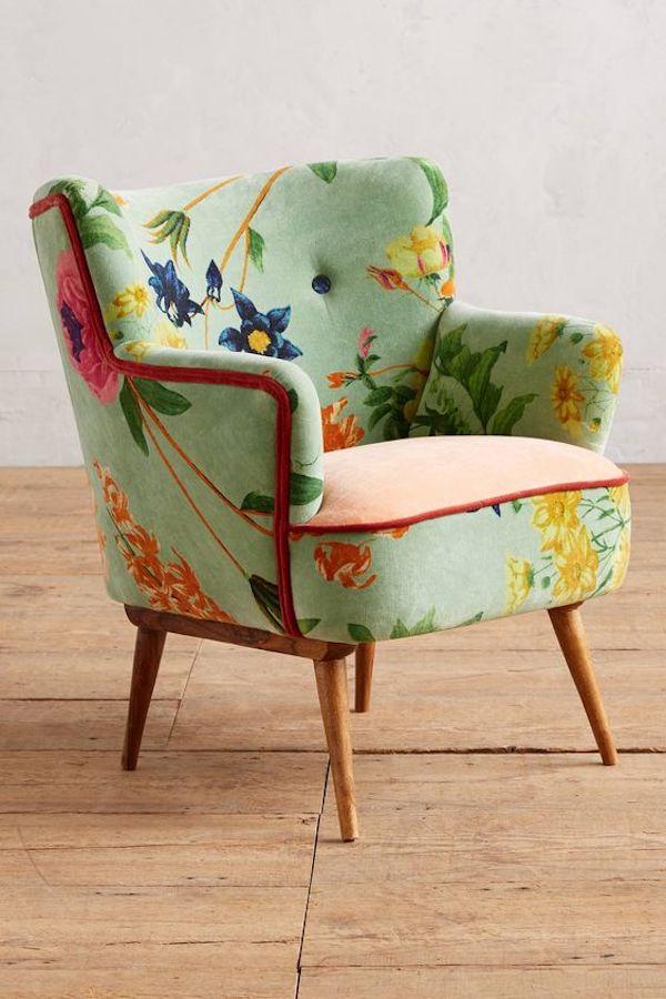 deco fleurie fauteuil velours fleurs meuble assise