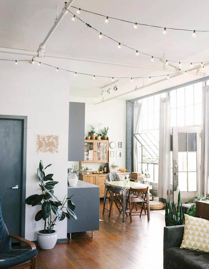 maison californienne parquet blanc plantes vintage lumieres