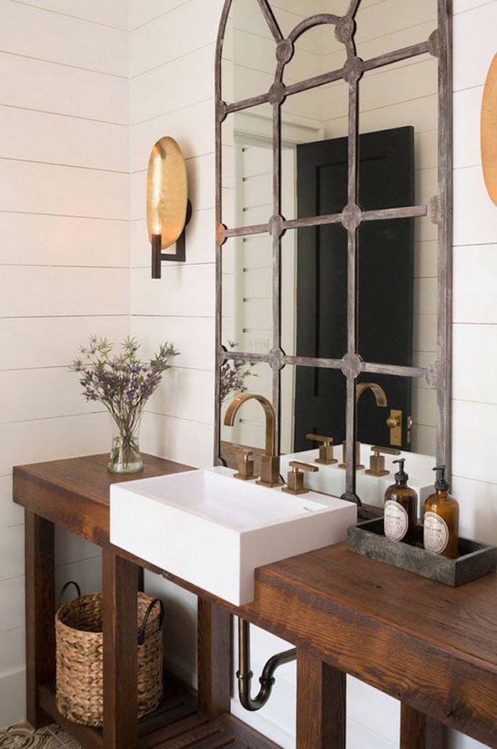 style rustique salle de bain miroir meuble bois blanc