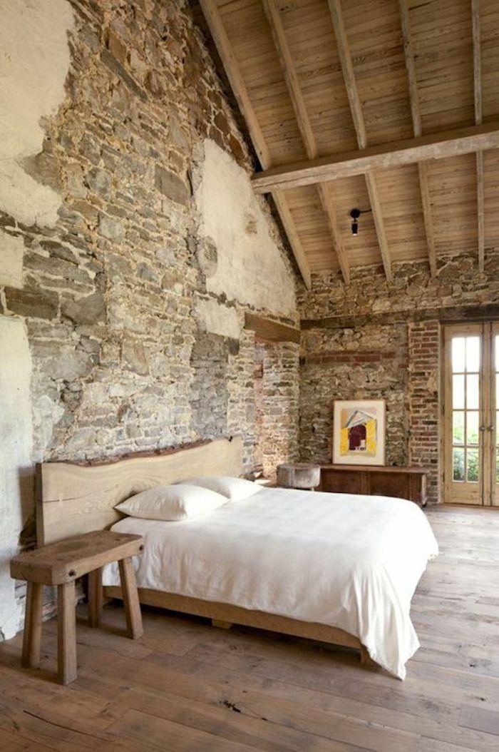 style rustique chambre ferme montagne campagne pierres apparentes simple sobre