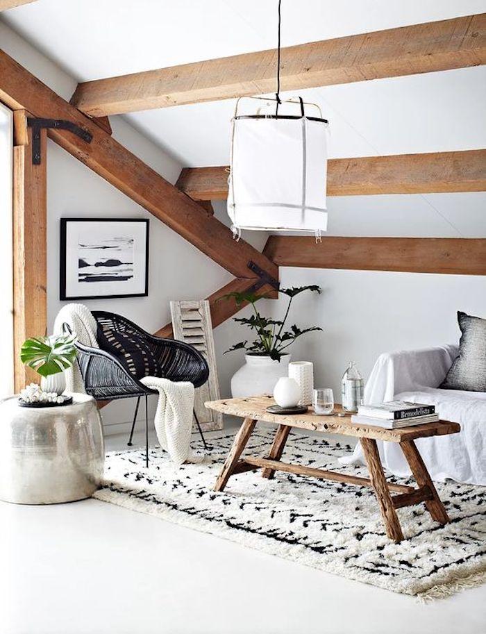 style rustique decoration salon blanc bois brut