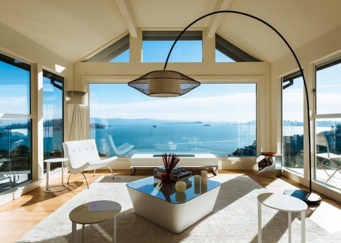 villa californienne vue sur ocean salon baie vitre