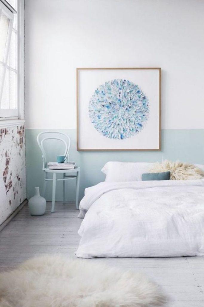 bleu glacier chambre adulte blanc lit