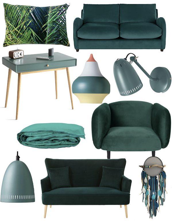 blog deco vert canard fauteuil canape velours design clem around the corner