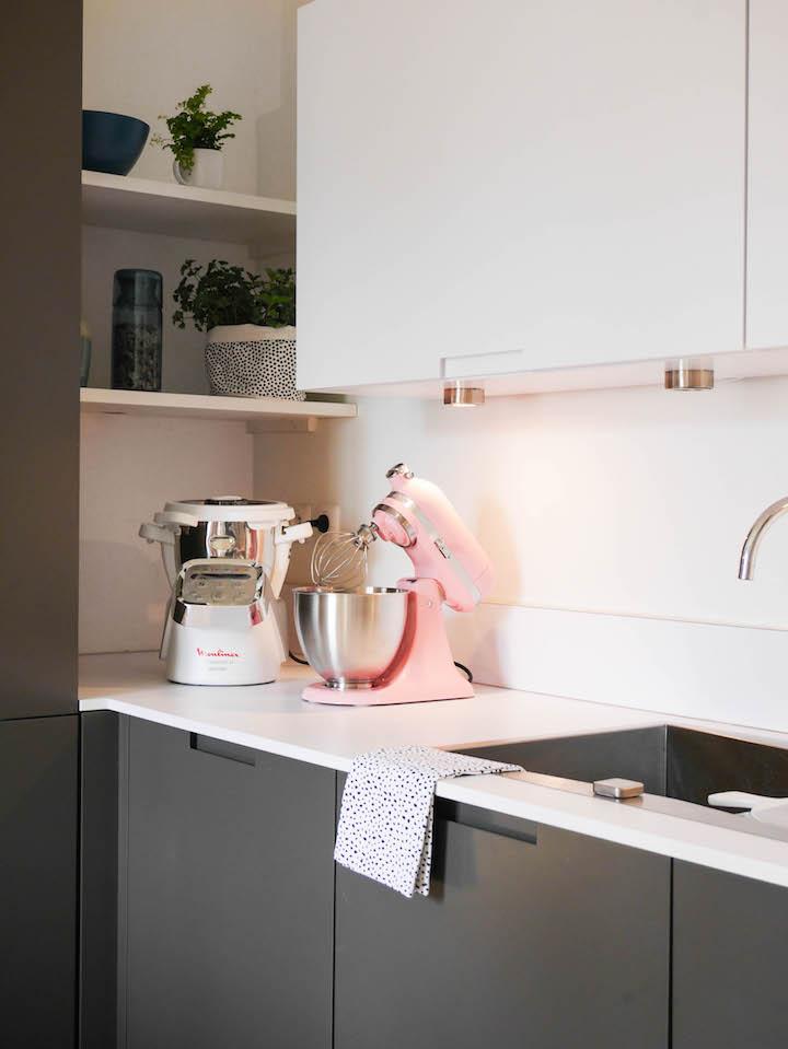 cuisine grise et blanche moderne design en l