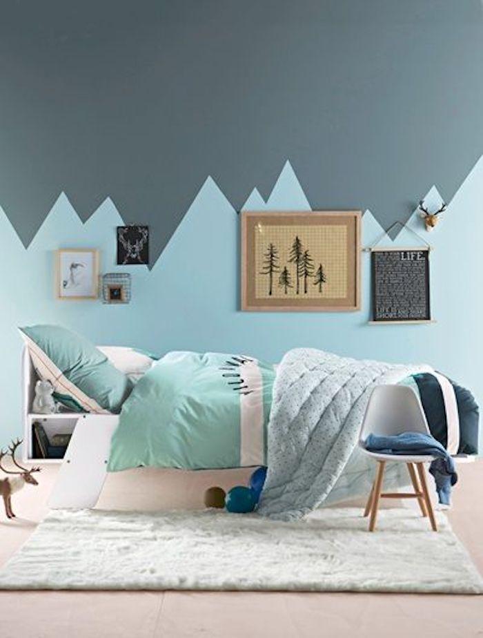 deco chambre enfant bleu glacier montagne graphique