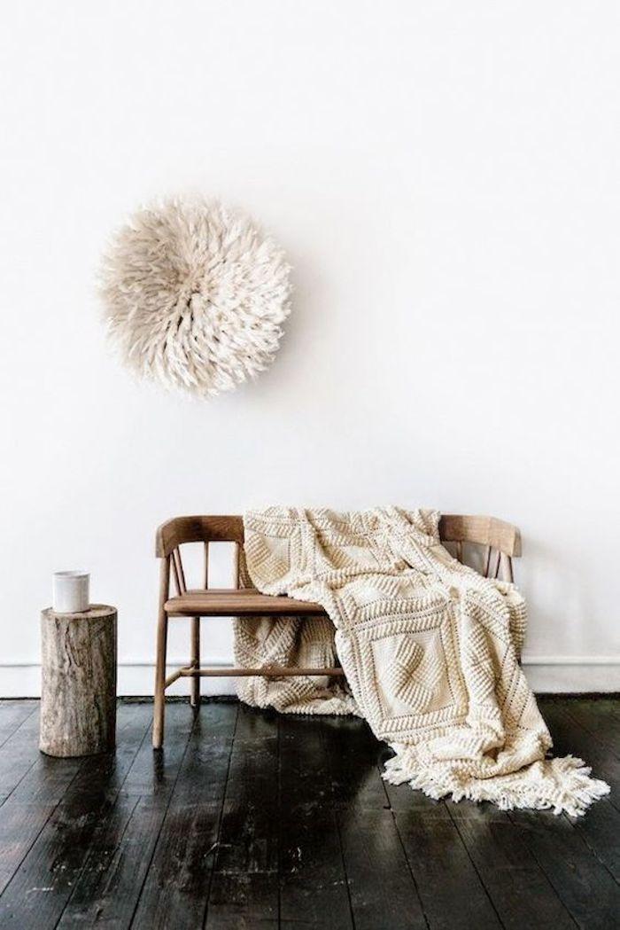 juju hat diy idee deco decoration ethnique banc bois plaid tricot