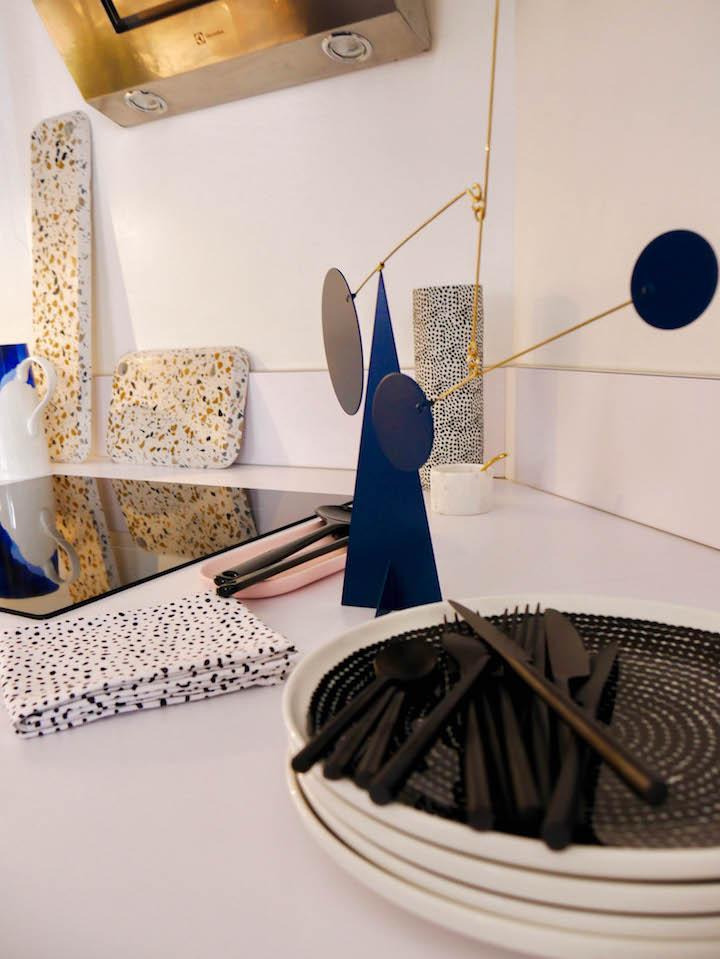 mobile sur pied decoration bleu canard cuisine