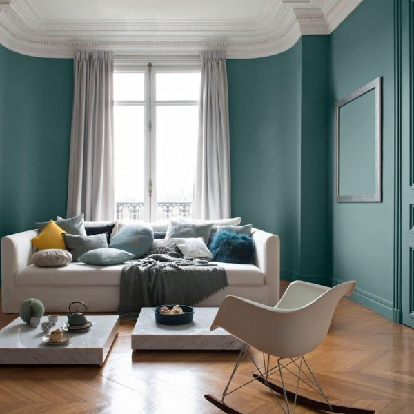 peinture couleur vert canard haussman moulure plafond parquet chevron point de hongrie