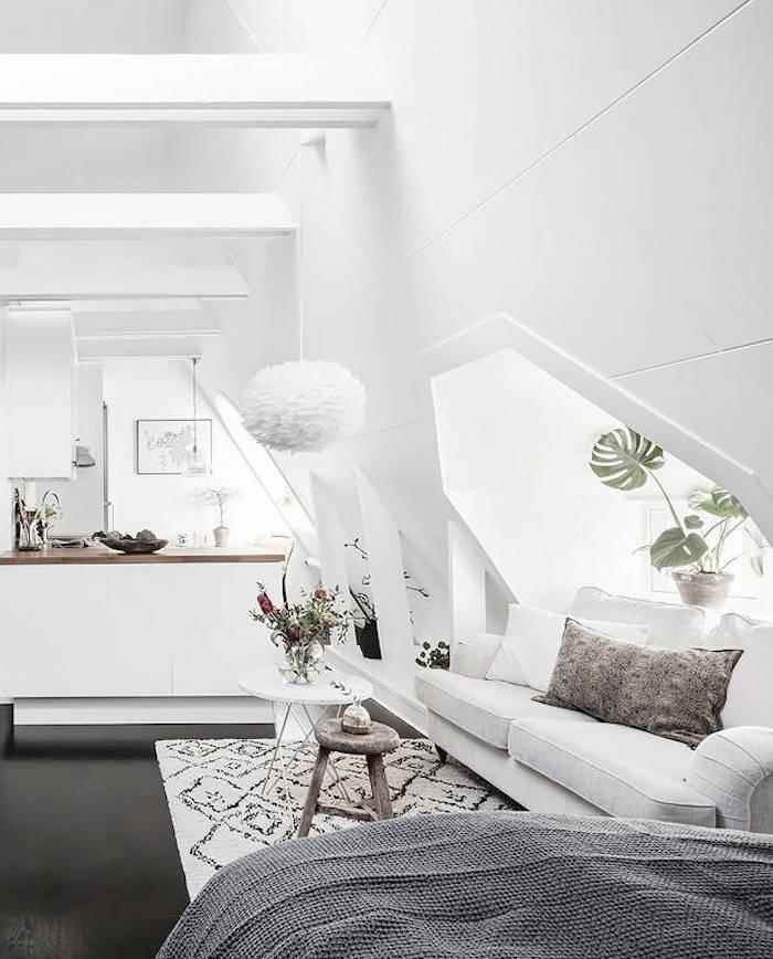 petit appartement blanc vue cuisine