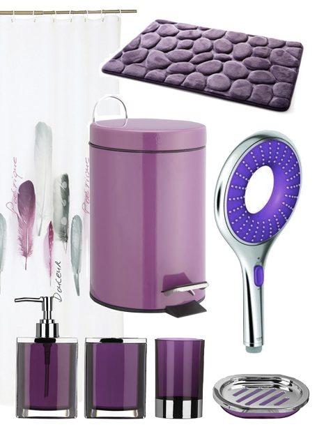 salle de bain couleur prune violet accessoire deco