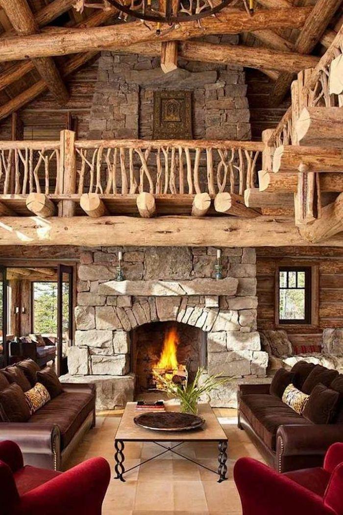 style rustique chalet bois pierres apparentes cheminee