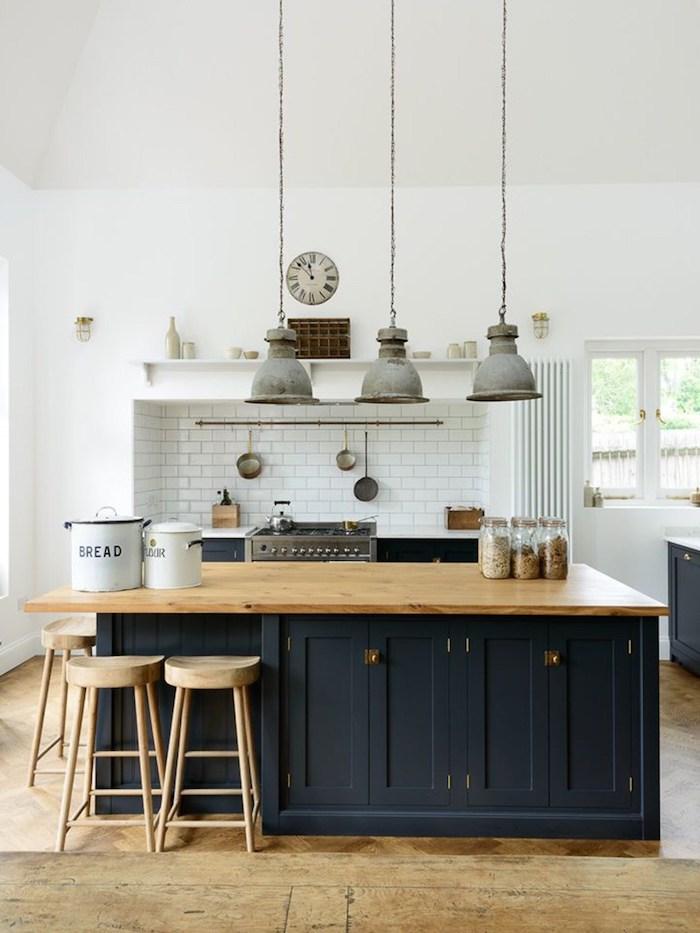 style rustique decoration champetre cuisine ouverte plan de travail