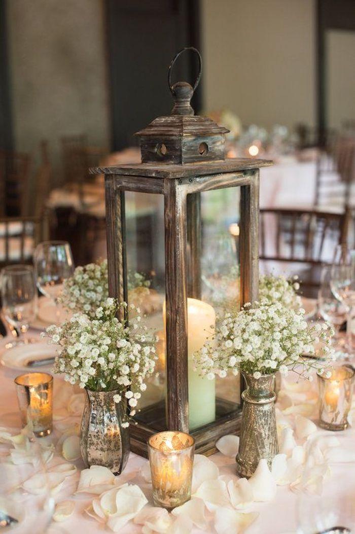 style rustique decoration mariage champetre table bougies fleurs blanc evenement