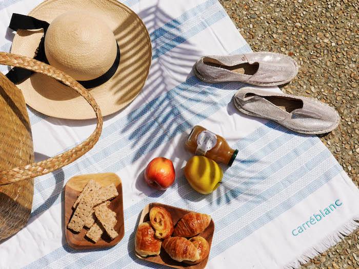 idee fete des meres fouta pic nic bronzer soleil chapeau espadrille ete pomme