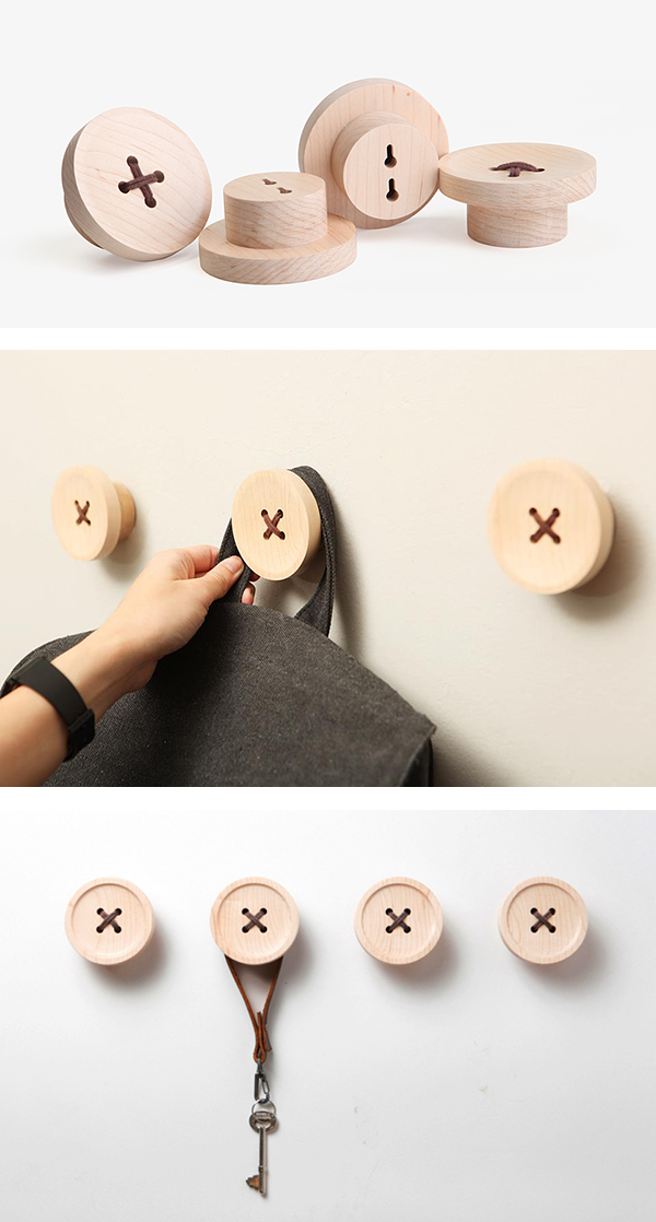 pana objects porte-manteau bois forme bouton blog design