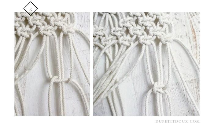suspension macrame diy creation finition ligne noeud deco mur