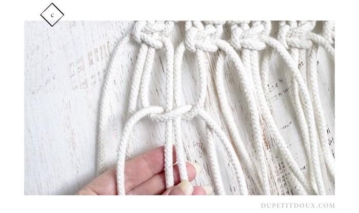suspension macrame diy decoration noeud blanc corde