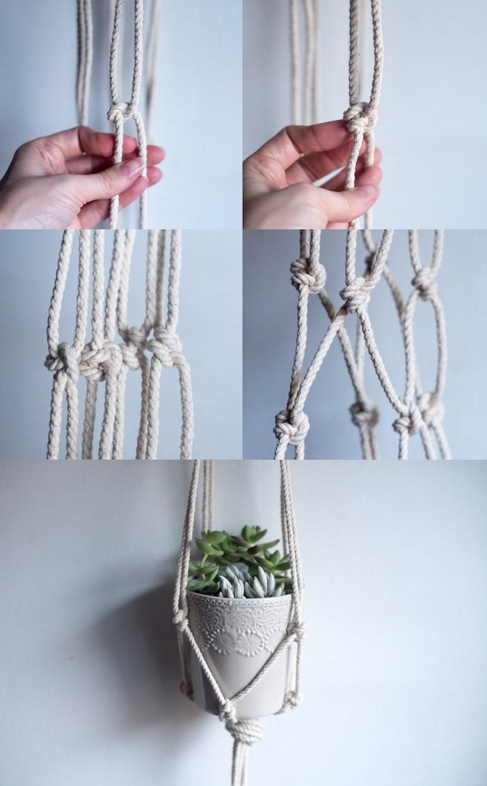 noeu corde pour décoration murale diy hanging planter basket finition pot suspendu
