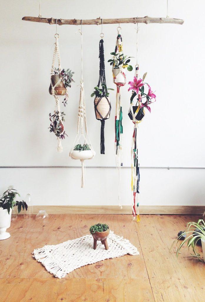 suspension macrame diy pots suspendus couleur boheme salon plantes